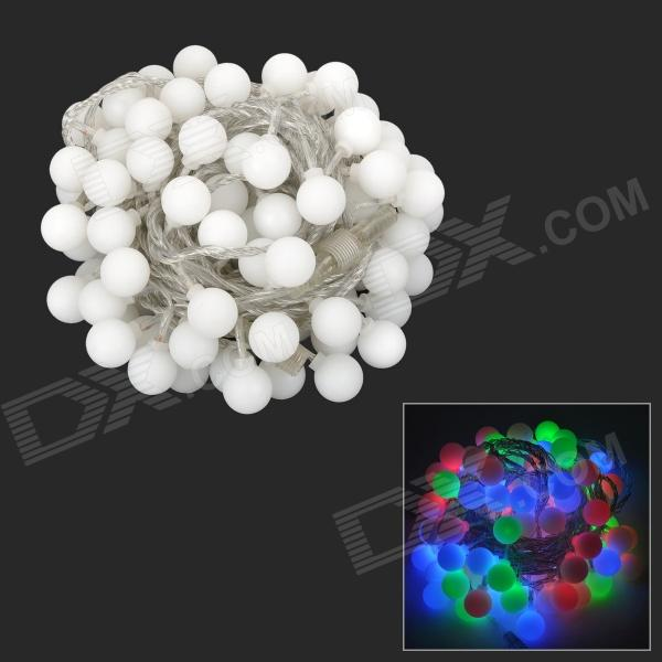 Ball Shape 2W 50-LED Holiday Christmas Decorative 7-Color Strip Light - White (110~250V / EU Plug)