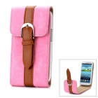 Protective Flip-Open PU Leather Case for Samsung Galaxy S3 i9300 - Pink + Brown
