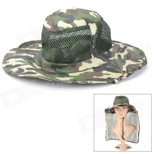 Outdoor Fishing Cap Hat w/ Mesh Hood Cover - Camouflage Green