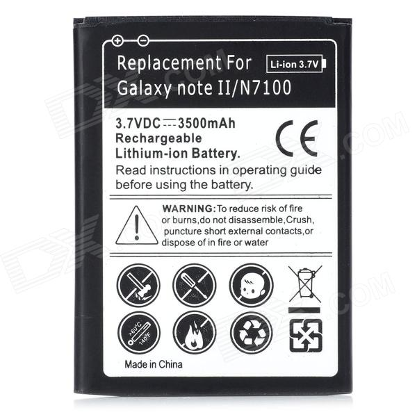 Replacement 3.7V 3500mAh Battery for Samsung Galaxy Note II N7100 - Black - DXReplacement Batteries<br>Quantity 1 Piece Color Black Compatible Models Samsung Galaxy Note II N7100 Battery Type Li-ion Capacity 3500 mAh Voltage 3.7 V Features Replaces your damaged battery Packing List 1 x Replacement battery<br>