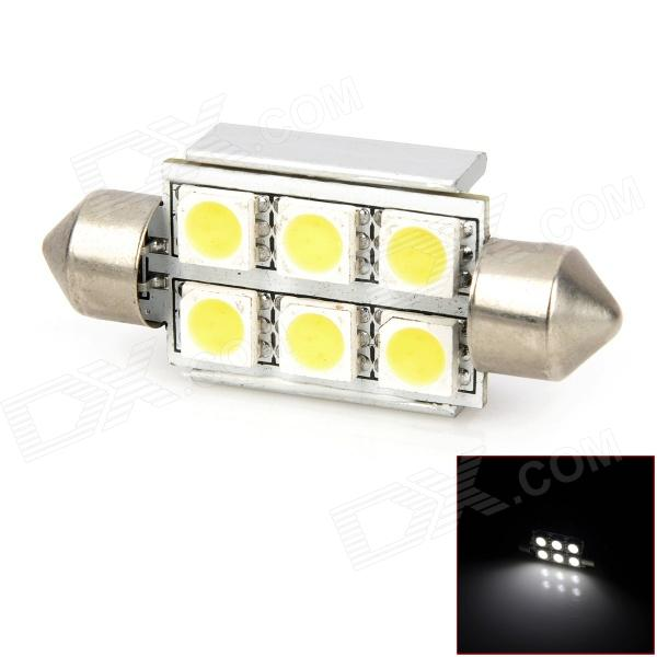 Festoon 36mm 2W 102lm White 6-SMD LED Car Indicator Lamp - Silver