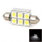 Festoon 36mm 2W 102lm 7000k 6-SMD 5050 LED White Light Car Indicator Lamp - Silver (DC 12V / 24V)