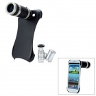 8X Zoom Telescope + 60X Zoom Microscope Lens Case for Samsung Galaxy S3 i9300 - Black (3 x LR1130)