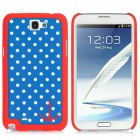 Polka Dot Style Protective Detachable Bumper Frame w/ Back Cover for Samsung Galaxy Note II N7100