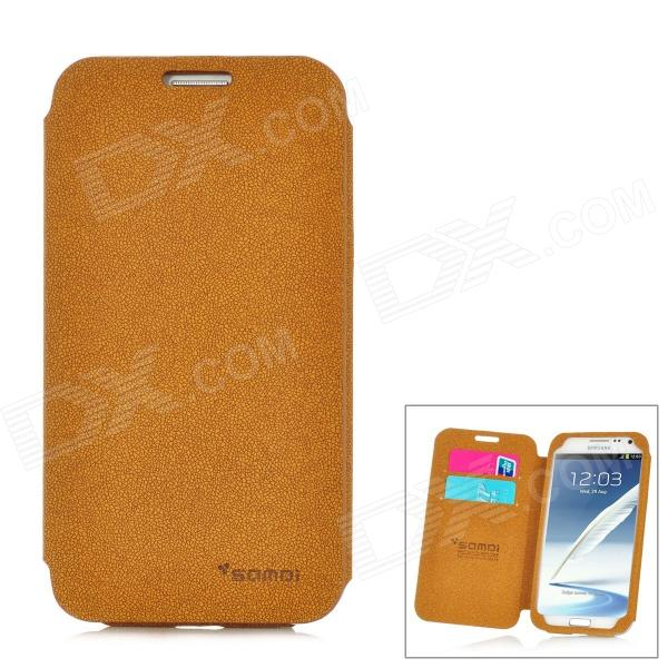 SAMDI Rock Grain Protective PU Leather Case for Samsung Galaxy Note 2 N7100 - Brown