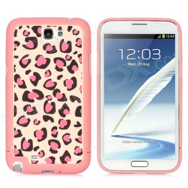 Detachable Leopard Style Protective Plastic Back Case for Samsung Galaxy Note 2 N7100 - Pink + Black 2 in 1 detachable protective tpu pc back case cover for samsung galaxy note 4 black