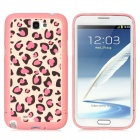 Detachable Leopard Style Protective Plastic Back Case for Samsung Galaxy Note 2 N7100 - Pink + Black