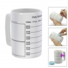 Creative Ceramic Schedule Mug w/ Sponge Rubber / Suction cup Pen Holder + Pencil - White