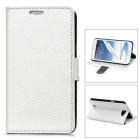 Lychee Pattern Protective PU Leather Case for Samsung Galaxy Note 2 N7100 - White