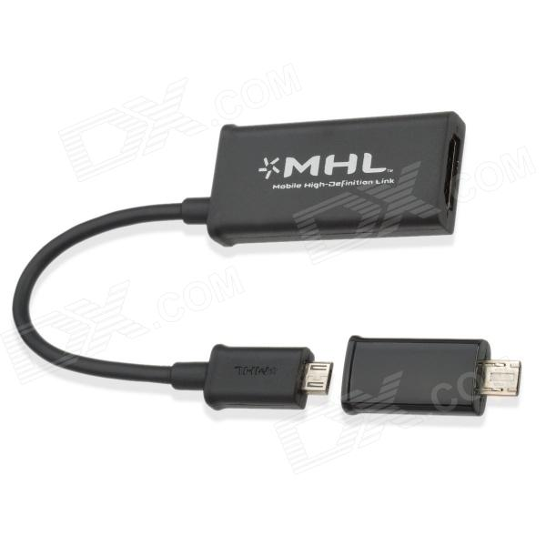 Universal Micro USB 5 Pin / 11 Pin Male to HDMI Female MHL Converter / Adapter - Black (13cm-Cable)
