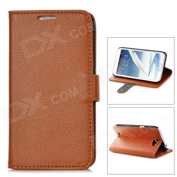 stylish pu leather sleeve pouch case for samsung galaxy note ii n7100 htc one x brown Lychee Pattern Protective PU Leather Case for Samsung Galaxy Note 2 N7100 - Brown
