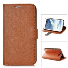 Lychee Pattern Protective PU Leather Case for Samsung Galaxy Note 2 N7100 - Brown