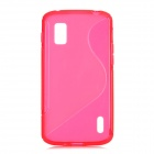 S Pattern Protective TPU Back Case for LG E960 Nexus 4 - Transparent Red