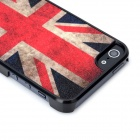 Protective UK Flag Pattern Shimmering Powder Style Back Cover Case for IPHONE 5 - Black + Red