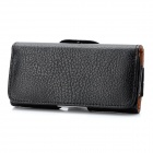 Protective PU Leather Case w/ Waist Belt Buckle for Iphone 5 - Black