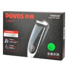 POVOS PR3022 Rechargeable Hair Clipper w/ Limit Comb + 2-Flat-Pin Plug - Black + Silver
