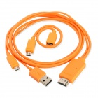 1080P Micro USB MHL to HDMI Male HD Video Adapter Cable w/ Micro USB 5Pin to 11Pin Cable - Orange