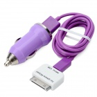 Car Charger w/ USB Male to 30pin Male / Micro USB Male Charging / Data Cable for iPhone 4 - Purple