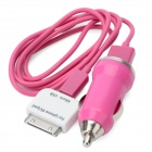 Car Charger w/ USB Male to 30pin Male / Micro USB Charging / Data Cable for iPhone 4 - Deep Pink