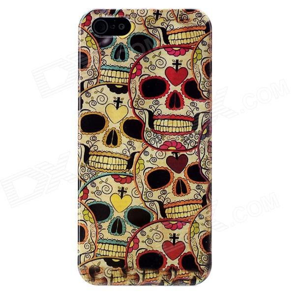 Protective Skull Pattern Plastic Back Case w/ Screen Protector for Iphone 5 - Red + Black + Beige london pattern protective plastic back case w front screen protector for iphone 5 grey red
