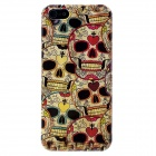 Protective Skull Pattern Plastic Back Case w/ Screen Protector for Iphone 5 - Red + Black + Beige