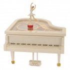 YL2012 Dancing Piano Music Box w/ Ballet Girl - White
