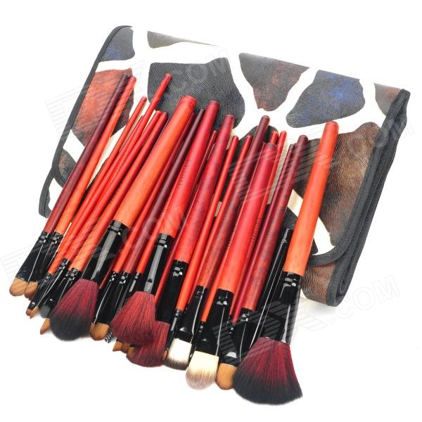 Portable Cosmetic Makeup Brushes Set w/ Giraffe Pattern Storage Bag - Black + Coral (31 PCS) hot sale 2016 soft beauty woolen 24 pcs cosmetic kit makeup brush set tools make up make up brush with case drop shipping 31