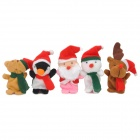 FT604 Christmas Style Plush Finger Puppets Toys - Multicolored (5 PCS / Pack)