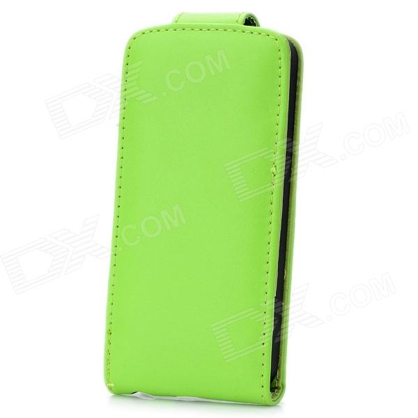 где купить Protective Top Flip-Open PU Leather Case for Iphone 5 - Green дешево