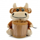 Cute Plush Cattle USB 2.0 Microphone Web Camera w/ Pen Holder - Brown + Beige (120cm-Cable)