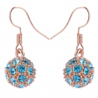 MaDouGongZhu R092-7 Allergy Free Charming Rhinestone Ball Earrings - Golden + Blue (Pair)