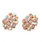 MaDouGongZhu R110-2 Charming Flower Style Shining Crystal Ear Studs - Golden (Pair)