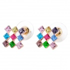 MaDouGongZhu R099-1 Charming 9-Strass Quadratische Ohrstecker - Multicolor (Paar)