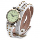 SL-1001W Bracelet PU Leather 3-Circle Band Analog Quartz Women's Wrist Watch - Bronze (1 x LR626)