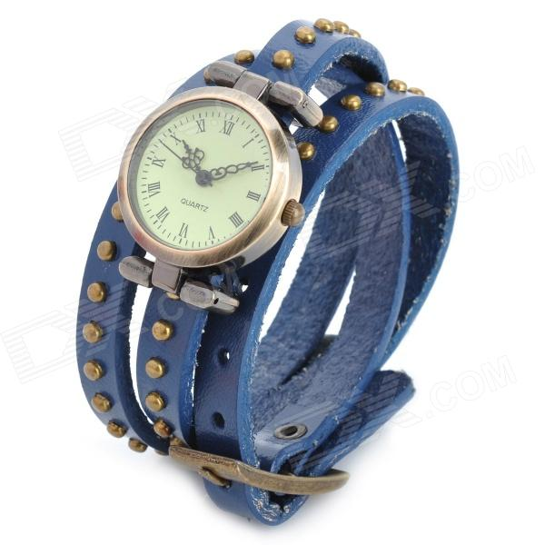 SL-1003BU Bracelet PU Leather 3-Circle Band Analog Quartz Women's Wrist Watch - Bronze (1 x LR626) split leather band analog quartz watch handwork retro style bracelet for women 1 x ag4