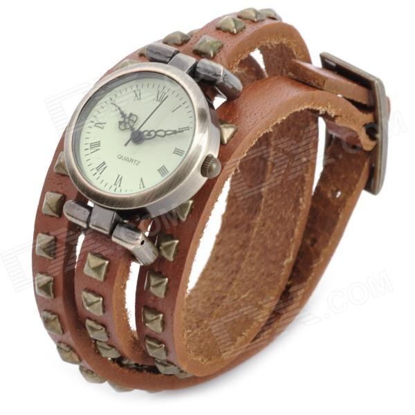 SL-1002B Bracelet PU Leather 3-Circle Band Analog Quartz Women's Wrist Watch - Bronze (1 x LR626) split leather band analog quartz watch handwork retro style bracelet for women 1 x ag4