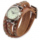 SL-1002B Bracelet PU Leather 3-Circle Band Analog Quartz Women's Wrist Watch - Bronze (1 x LR626)