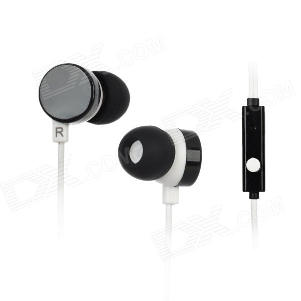Kanen ip-608 In-Ear Earphone w/ Microphone for Iphone 4 / 4S / Ipad / HTC + More - Black + White 3 5mm jack in ear earphone w microphone for iphone 4 4s ipad samsung more black white