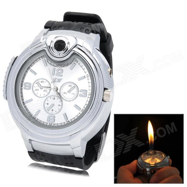 Qiqu R4446B 2-in-1 Quartz Wrist Watch + Adjustable Butane Flame Lighter - Silver (1 x 377)