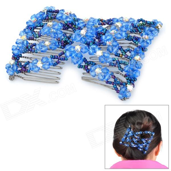 Fashion Stretchy Bead Double Hair EZ Combs Clips - Blue cтеппер bs 803 bla b ez