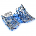 Fashion Stretchy Bead Double Hair EZ Combs Clips - Blue