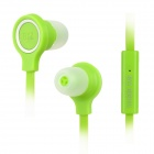 BYZ S400 Flat In-Ear Earphones w/ Microphone for iPhone 5 / iPod / iPad / Samsung / HTC - Green