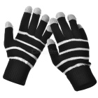 TW Stripes Pattern 3-Finger Capacitive Screen Touching Hand Warmer Gloves - Black + White (Pair)
