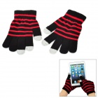 TW Stripes Pattern 3-Finger Capacitive Screen Touching Hand Warmer Gloves - Red + Grey (Pair)
