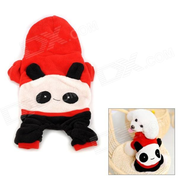 Panda Style Pet Dog Apparel 4-Leg Holes Clothes - Red + Black (Size M)