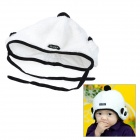 Panda Style Soft Cotton Wool Warmer Hat for Kids - White + Black