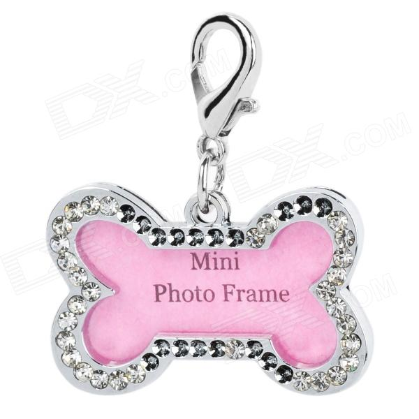 Bone Style Pet Dog Cat ID Name Tag - Silver + Pink