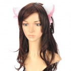 Cute Cat Ears Style Plush + Iron Headband Hair Band - White + Pink + Black