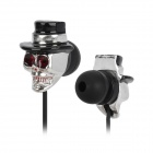 Stylish Skull Head In-Ear Earphones - Silver + Black (3.5mm Plug / 120cm-Cable)