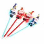 Santa Claus Ball Pens with Sucker - Blue Ink (Assorted 4-Pack)